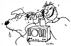 Drawing of a rhinoscopy on the dog