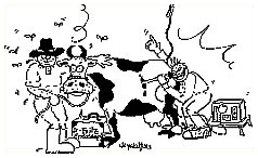 Drawing of a laparoscopy on a cow